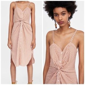 Zara Woman Orange Gingham Tie Front Dress